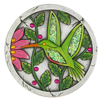 Make your garden sparkle with this whimsical hummingbird garden stone. This decorative stone features vibrant green and pink colors with glitter accents that will sparkle in the sunlight.