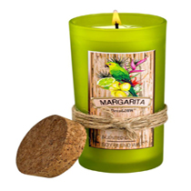 Take me to Margaritaville! This candle has the look and scent to take you on a relaxing trip to the topics without leaving home. This 6.5-oz white wax candle in its green glass has a cork lid and will enliven any room. The Margarita scent opens with fresh lemons and limes. Zesty orange and grapefruit are infused with notes of tequila, cognac and sea salt. Burn time: up to 33 hours.