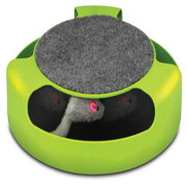 This feline frenzy cat toy has grooming and fun all in one. The mouse flying around the track as your cat swats and chases it will keep him or her entertained for hours. The scratch pad on top works like a nail file and will keep your cat's nails clean, healthy and strong.