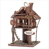 "Welcome birds to your ""neck of the woods"" with this fantastic wooden way-station, trimmed with twisty twigs, pinecones and a darling rough-hewn ladder."